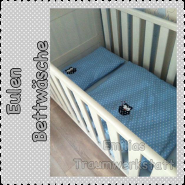 eulen bettw sche hellblau sterne emilias traumwerkstatt. Black Bedroom Furniture Sets. Home Design Ideas