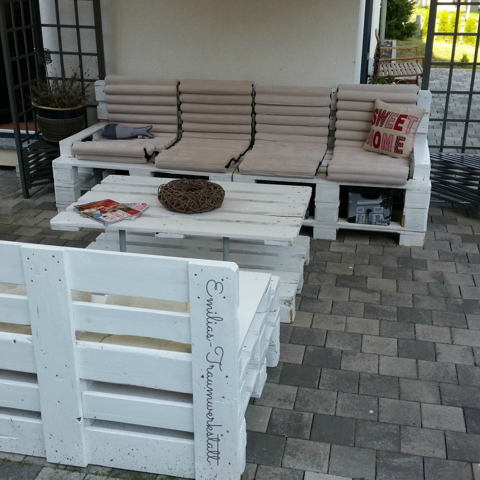 Gartengarnitur Lounge Palettenmöbel weiss vintage | Emilias ...