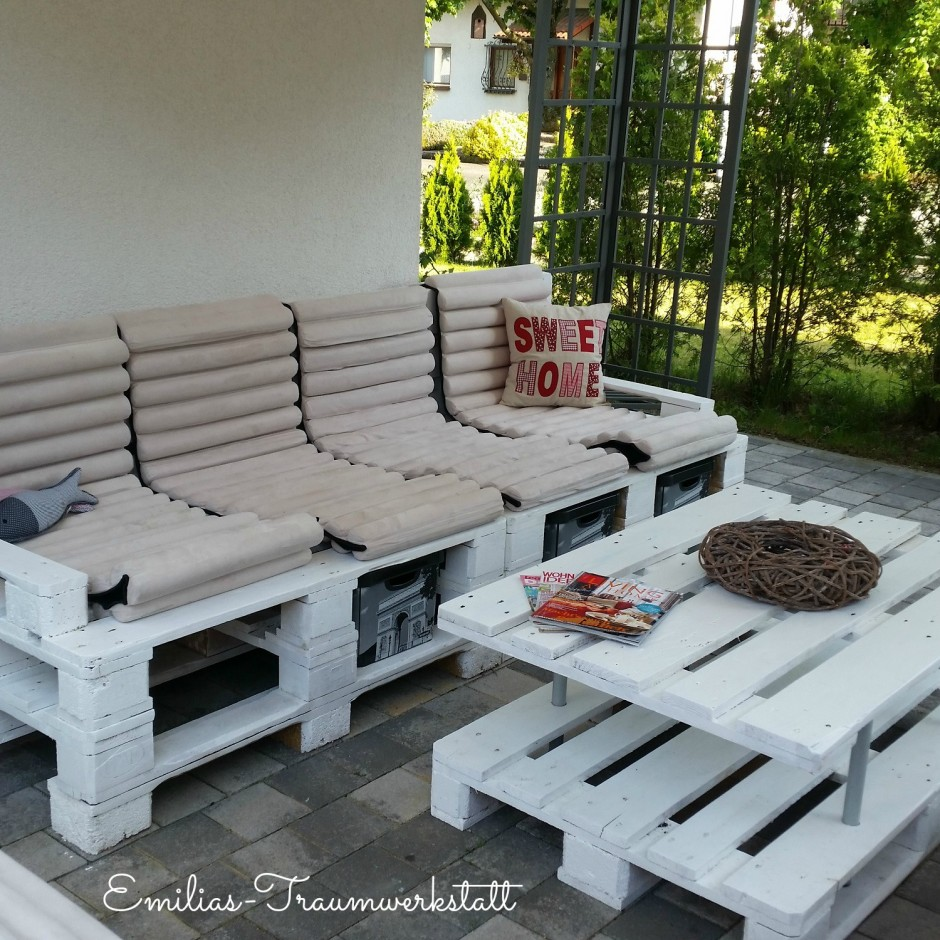 gartenlounge sofa 3-4 sitzer vintage weiß paletten | emilias