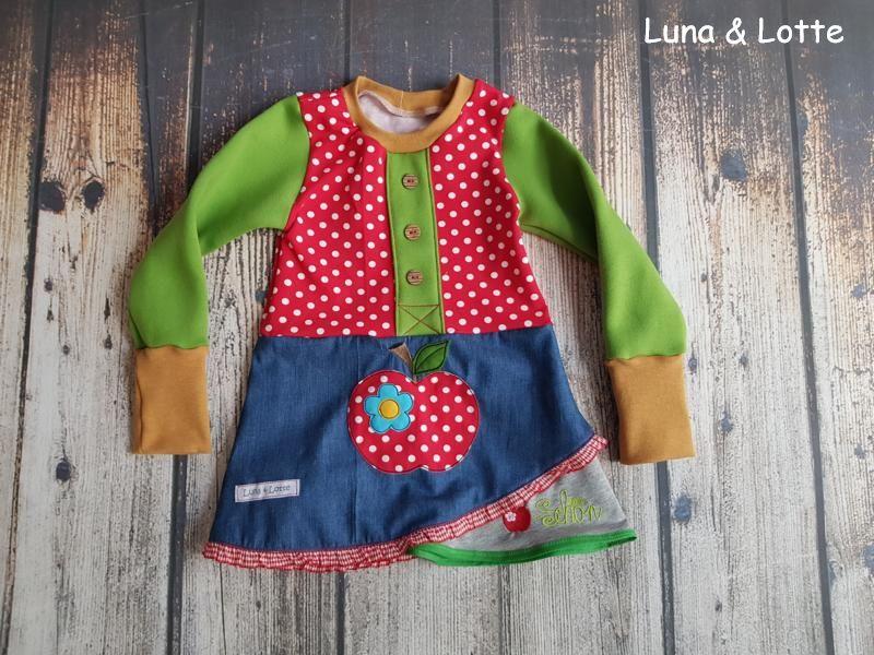 Apfel Jeans Kleid senf grün rot blau Gr. 56-158 - Emilias ...